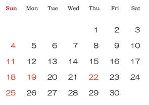 2016年9月カレンダー